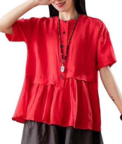 YESNO Y63 Women Casual Loose Fit Blouse Shirt Button-Up Shirt 100% Linen 'A' Skirt Gathered Short Sleeve ()