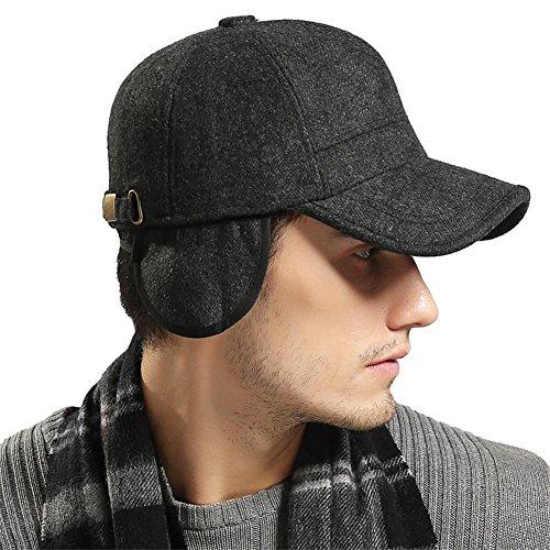 YAKER Mens Winter Warm Woolen Peaked Baseball Cap Hat with Earmuffs Metal Buckle