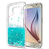 S6 Case,Galaxy S6 Case with HD Screen Protector for Girls Women,LeYi Cute Bling Shiny Glitter Moving Quicksand Liquid Clear TPU Protective Phone Cover Case for Samsung Galaxy S6 ZX Turquoise