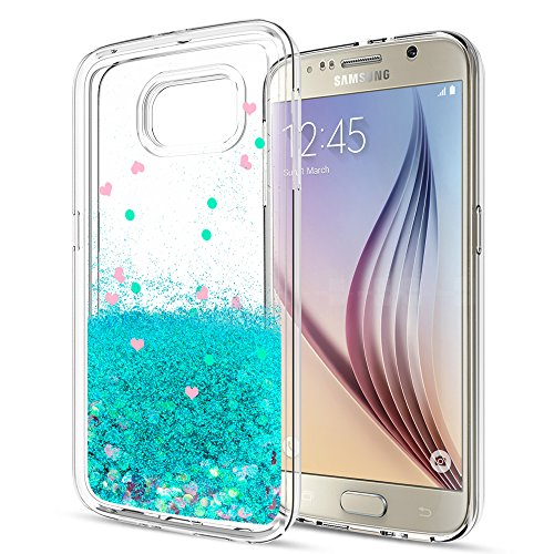 S6 Case,Galaxy S6 Liquid Case with HD Screen Protector for Girls Women,LeYi Cute Design Shiny Glitter Moving Quicksand Clear TPU Protective Phone Case Cover for Samsung Galaxy S6 ZX Turquoise