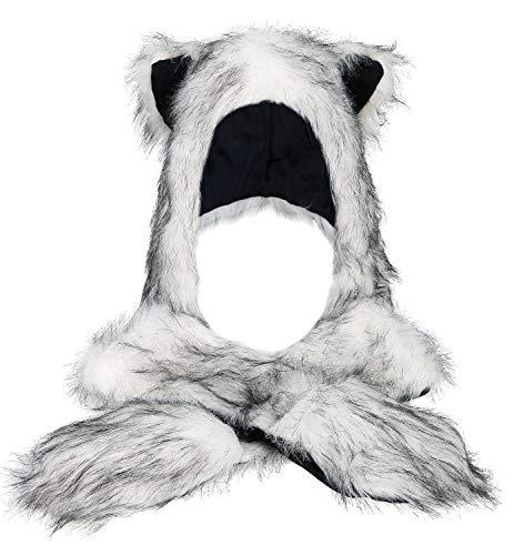 Animal Skin Hats (Winter Warm Plush Faux Fur Animal Paws Hat Hoods Gloves)