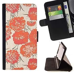 For LG G3 Case , Peach Vignette Wallpaper Flores- la tarjeta de Crédito Slots PU Funda de cuero Monedero caso cubierta de piel