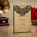 Everyshine Rhinestone Laser Cut Black Floral Wedding Invitations (550)