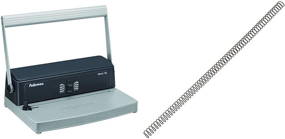 Fellowes Metal 50 - Encuadernadora manual de espiral metálico, uso ocasional + 5110301 - Pack de 100 espirales metálicas 10 mm, negras
