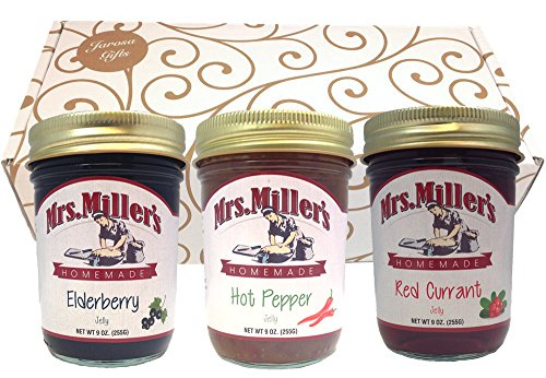(Favorite Jellies Gift Assortment Box - 3 Jar Sampler, Variety Pack of Elderberry, Hot Pepper, Red Currant Jelly (9 oz full-sized jars) by Mrs. Miller's in a Gold Scroll Gift Box by Jarosa Gifts)