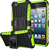 ykooe iPod Touch 5 Case, Touch 6 Case, Touch 7 Case, Heavy Duty Protective Cover Dual Layer Hybrid Shockproof Protective Case with Stand for Apple iPod Touch 5 6 7
