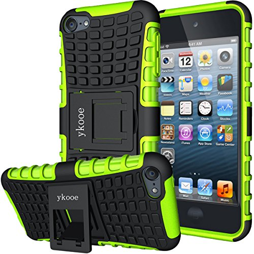 iPod Touch 5 Case,Touch 6 Case,ykooe Heavy Duty Protective Cover Dual Layer Hybrid Shockproof Protective Case With Stand for Apple iPod Touch 5 6 (Green)