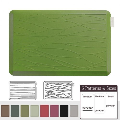 NUVA Anti Fatigue Standing Floor Mat 30 x 20 in, 100% PU Comfort Ergonomic Material Unlike PVC leather mats! 4 Non-slip PU Elastomer Strips on Bottom, 5 Safety Test by SGS (Olive Green, Wave Pattern)