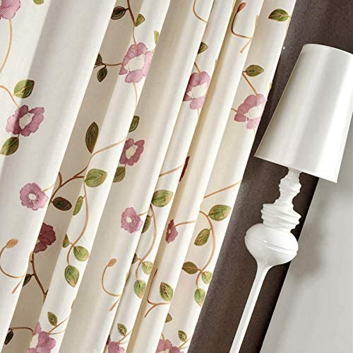 Bedroom Decorative Curtain Embroidered Floral Curtain for Sliding Glass Door Eyelet Grommet Top Window Drape 1 Panel – 75 Inch Width, 84 Inch Long