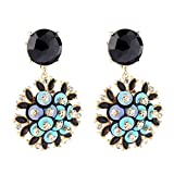 Statement Boho Unique Design Flower Blue Crystal Wedding Round Dangle Earrings for Women Jewelry