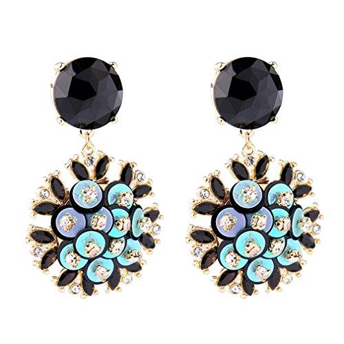 Statement Boho Unique Design Flower Blue Crystal Wedding Round Dangle Earrings for Women Jewelry by Tengkou