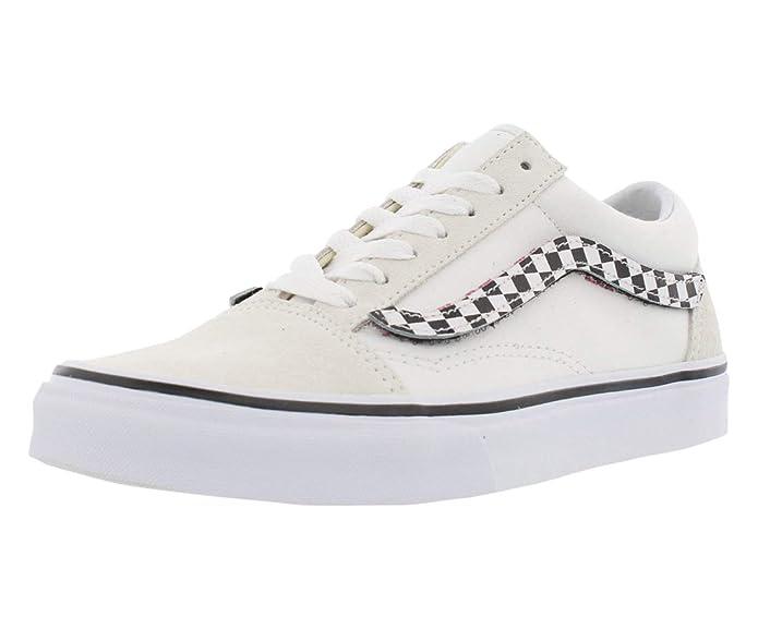 Vans Old Skool Schuhe Kinder/Erwachsene Weiß mit karierten Klettverschluss Streifen
