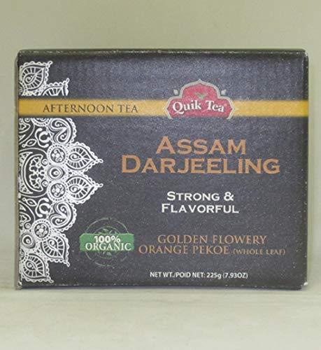 Quik 100% Organic Assam Darjeeling Strong & Flavorful Golden Flowery Orange Pekoe (Whole Leaf) Tea - 225 Grams