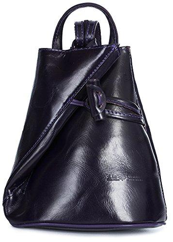 LiaTalia Convertible Strap Italian Leather Backpack Shoulder Bag with Protective Storage Bag - Brady (Large - Purple Plain) by LiaTalia