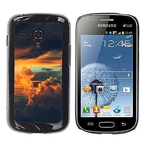 KLONGSHOP // Cubierta de piel con cierre a presión Shell trasero duro de goma Protección Caso - Cielo psicodélico - Samsung Galaxy S Duos S7562 //