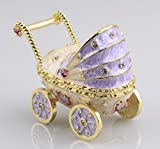 Wheel Carriage Trinket Jewelry Box Excellent Condition Bady Trinket Gifts Cute Metal Diplay Decor(Light Purple)