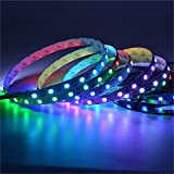 Mokungit 13.1FT 4M 60Pixels/m Programmable LED Strip Light WS2812B WS2811 Built-in 5050 RGB Individual Addressable Digital Dream Color Flex LED Strip 240LEDs DC5V (White PCB Non-waterproof IP33)