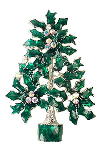 Bejeweled Christmas X-Large Aurora Borealis Rhinestone Holly Tree Pin 470