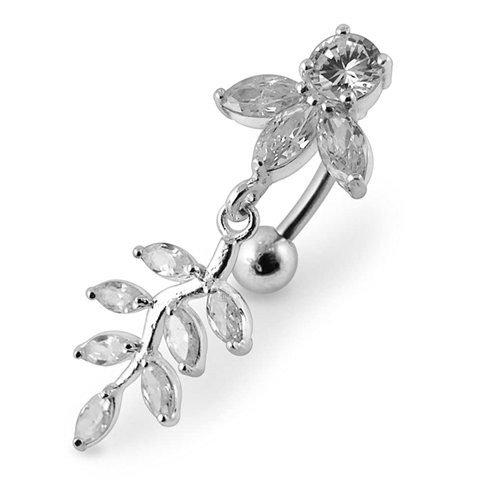 Tri-Petal Flower Belly Ring Sterling Silver 316L Surgical Steel Banana Belly Ring