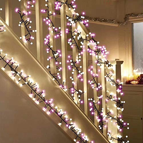 Yuanli Globe String Light, 27 feet Decorative Fairy Lights with 400 LED Bulbs,8 Lighting Modes Dimmable Outdoor String Lights for Party, Xmas, Garden, Bedroom, Cafe, Wedding (White and Pink)