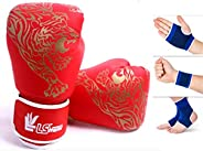 SFEEXUN Kids Boxing Gloves for Ages 5-12, Boys Girls Leather Punching Gloves for Punching Bag Kickboxing Muay