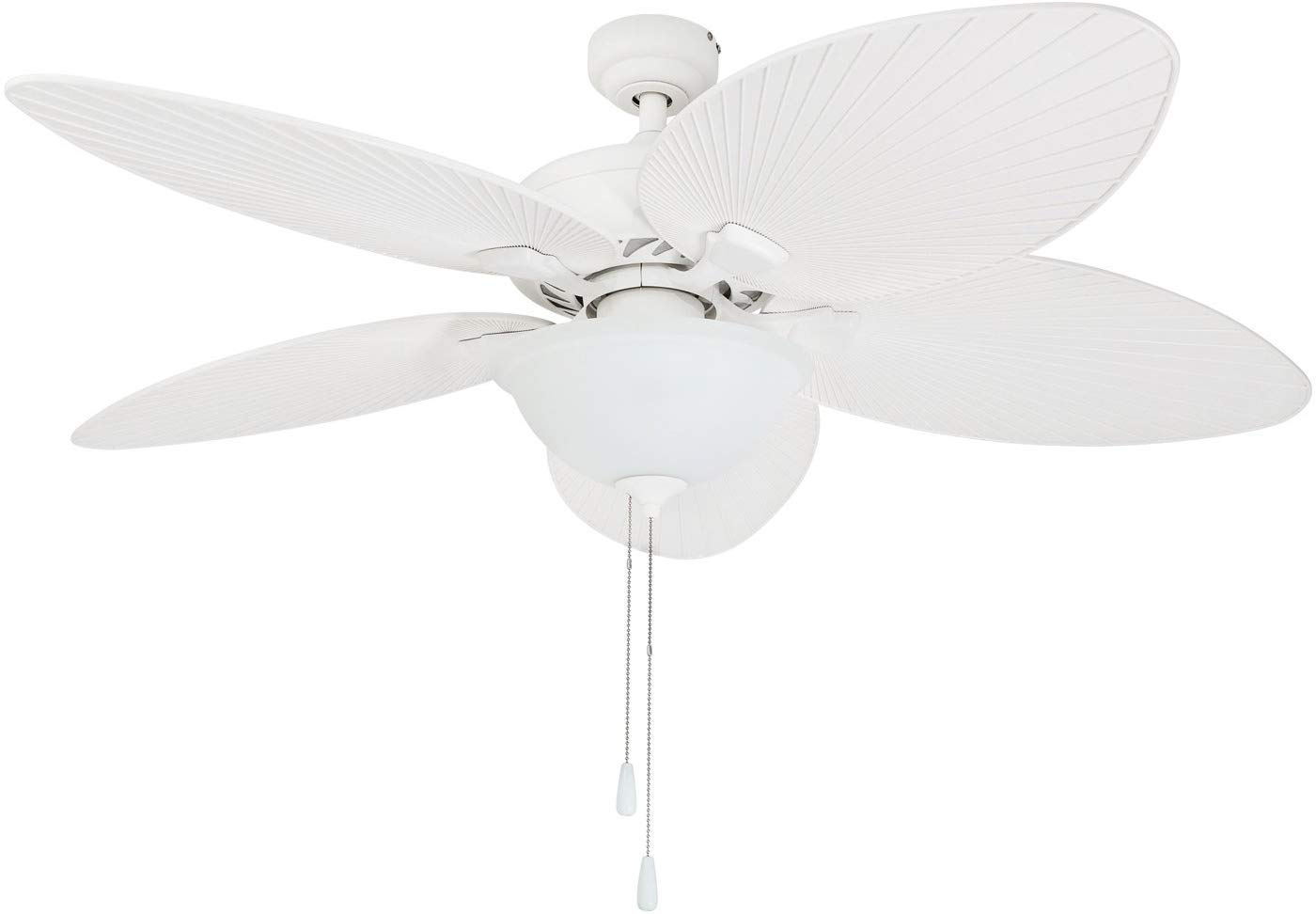 Prominence Home 80017-01 Palm Valley Tropical Ceiling Fan with Palm Leaf Blades, Indoor Outdoor, 52 inches, White