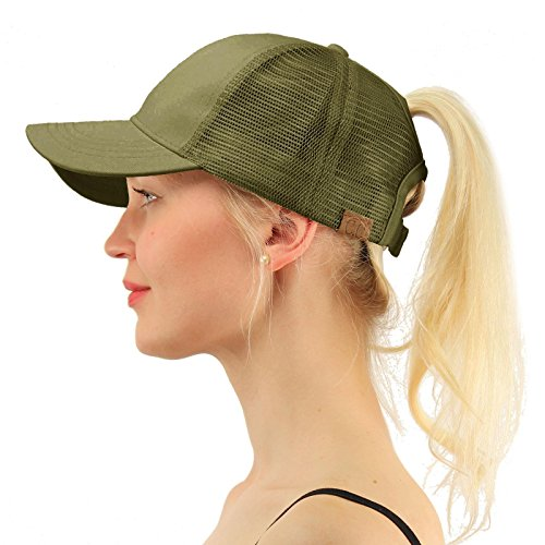 C.C Ponytail Messy Buns Trucker Ponycaps Plain Baseball Visor Cap Dad Hat Olive