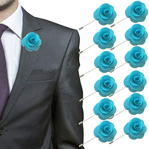 JLIKA Lapel Flower Pin Rose for Wedding Boutonniere Stick (Set of 12 PINS) (Turquoise Stick Pin)