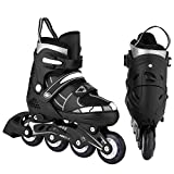 loukou Unisex Children Kids Rollerblade Indoor Outdoor Adjustable Inline Skates Size 12J-8, Kids Girls Boys Roller Blades with Flash Wheel (Black white, M(2-5))
