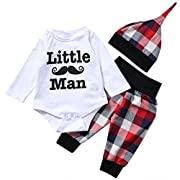 CKLV Baby Boys Little Man Print Romper+Plaid Pants+Hat Outfits Set Layette Gift Set (White, 6-12 Months)