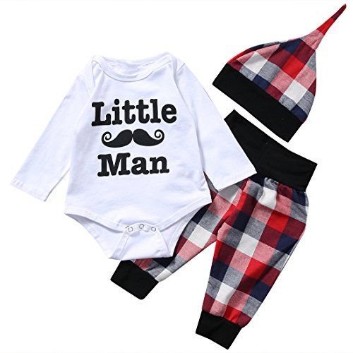 Baby Boys Little Man Print Romper+Plaid Pants+Hat Outfits Set Layette Gift Set (White, 0-6 Months) by CKLV