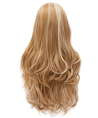 Rabbitgoo27.6In Long Curly Wig Charming Multi-Colored Highlighted Full Wave Wig Heat Resistant Wig for Cosplay Party Costume(Light Brown+Light Blonde)
