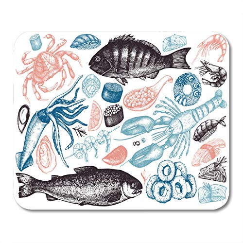 "Emvency Mouse Pads Collection of Seafood Fresh Fish Lobster Crab Oyster Mussel Mouse Pad for notebooks, Desktop Computers mats 9.5"" x 7.9"" Office Supplies"
