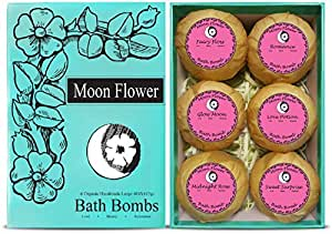 Moon Flower Six Organic Handmade Large and Lush Bath Bomb Gift Set