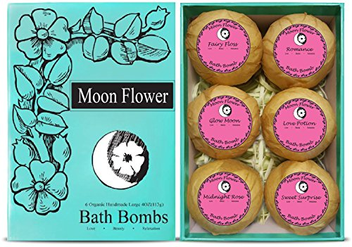 Moon Flower Six Organic Handmade Large and Lush Bath Bomb Gift Set