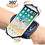 "Sports Wristband, Comsoon 360° Rotatable Forearm Armband Phone Holder for iPhone XS Max/XR/8 Plus/8, Galaxy Note9/S9 Plus/S9 & Other 4""-6.5"" Smartphone, with Key Holder for Biking Jogging (Black)"