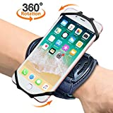 "Sports Wristband, Comsoon 360° Rotatable Forearm Workout Armband Phone Holder iPhone X/8 Plus/8/7/6s, Galaxy S9 Plus/S9/S8 & Other 4""-6.5"" Smartphone Key Holder Biking Jogging (Black)"