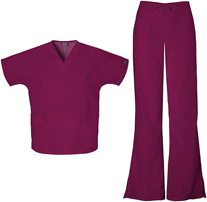 Cherokee Scrubs Set ORIGINALS Women/'s V-Neck Top /& Natural Pant 4700//4101 Petite
