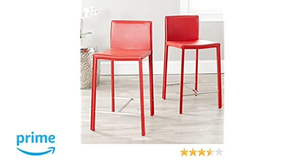 Amazon.com: Safavieh Home Collection Jason Mid-Century Red Leather ...