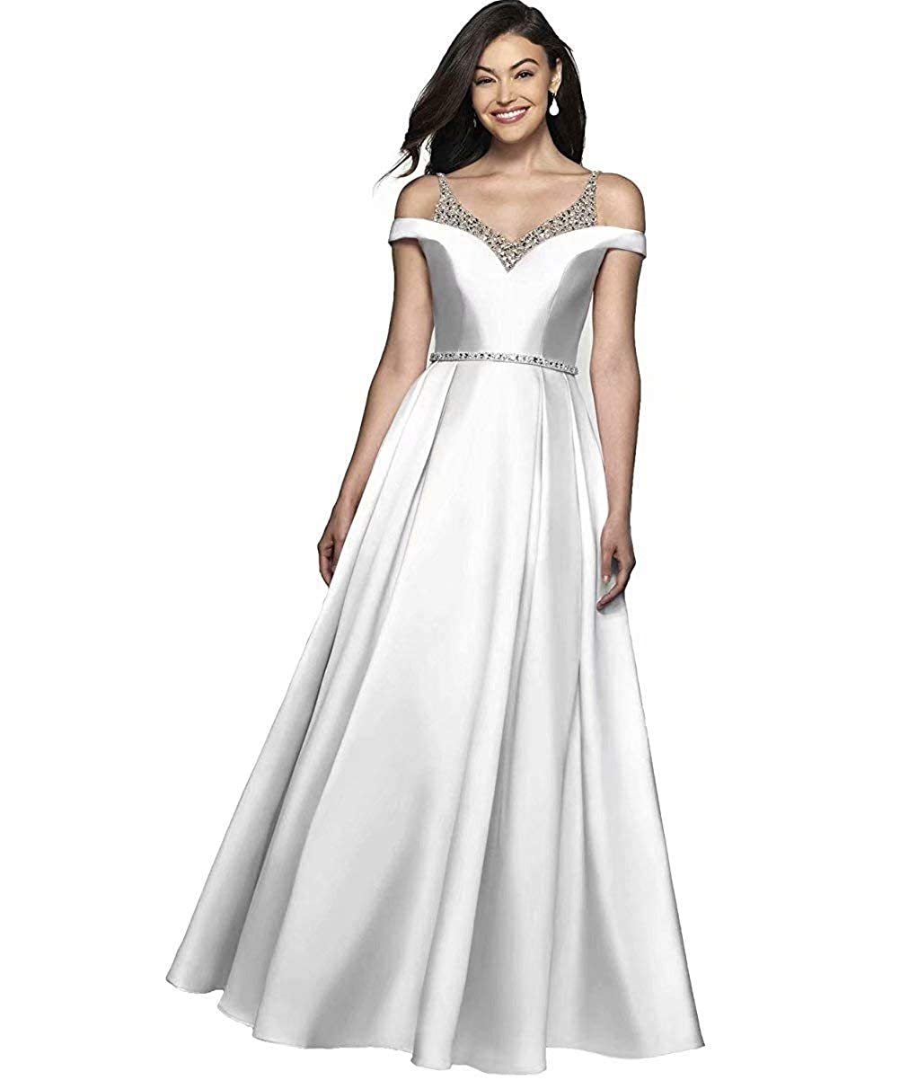 Ivory JYDX Women's Cold Shoulder V Neck Pleated Satin ALine Evening Prom Dress Long Formal Party Gown with Beaded Bodice