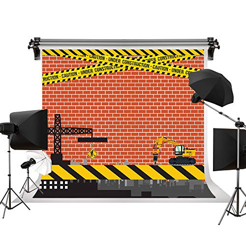 Kate 7x5ft/2.2x1.5m(W:2.2m H:1.5m) Under Construction Site Theme Backdrop Brick Wall Background Birthday Party Supplies Construction Scene Baby Shower Photo Background Photo Booth Props