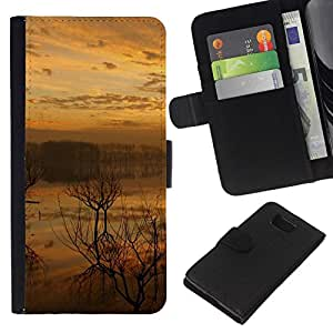 NEECELL GIFT forCITY // Billetera de cuero Caso Cubierta de protección Carcasa / Leather Wallet Case for Samsung ALPHA G850 // Sunset Lake
