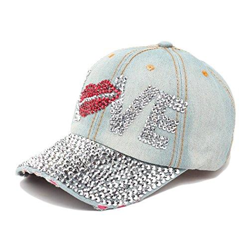 (Raylans Fashion Women Bling Studded Rhinestone Crystal Love Lips Baseball Caps Hats,1#)