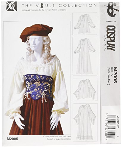 Cosplay By McCall's Cosplay M2005 Y,Gathered Chemise in Two Lengths,Sizes XSM-MED, Tissue, Multi-Colour, X-Small - Medium