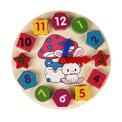 JD Million shop Wooden 12 Number Clock Toy Baby Colorful Puzzle Digital Geometry Clock Educational Clock Toy High Quality for Kids Children Gift