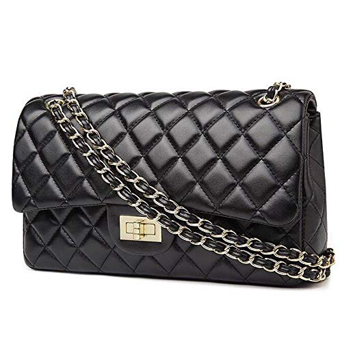 Women Classic PU Leather Quilted Shoulder Handbag Chain Double Flap Crossbody Purse