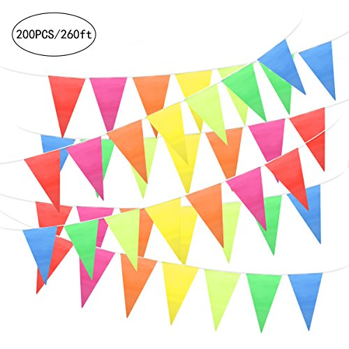 Unomor 260Feet Multicolor Pennant Banner Bunting Flags for Party Decorations, Birthday, Festivals - String Party Pennant