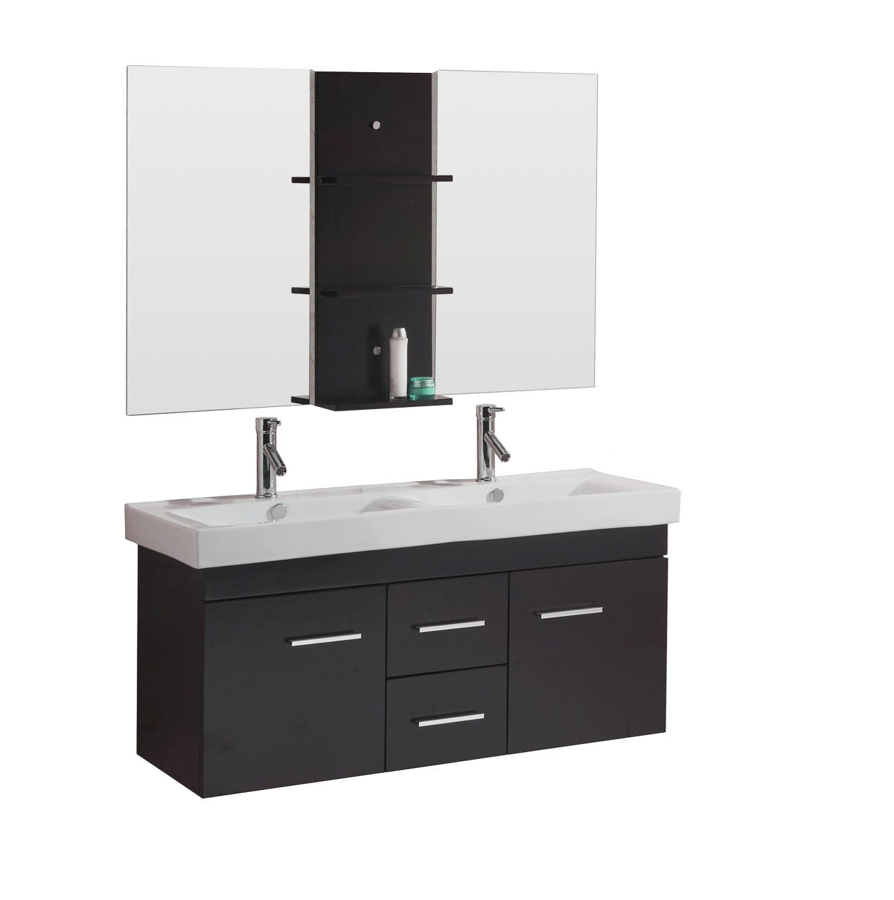bathroom vanity double sink 48 inches. virtu usa um-3067-c-es opal 48-inch wall-mounted double sink bathroom vanity with integrated ceramic basins, faucets, espresso finish - amazon.com 48 inches