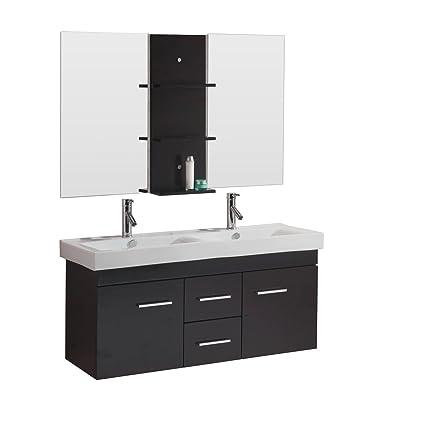 virtu usa opal 48 inch double sink bathroom vanity set in espresso w rh amazon com 48 inch double sink bathroom vanity 48 inch double sink bathroom vanity