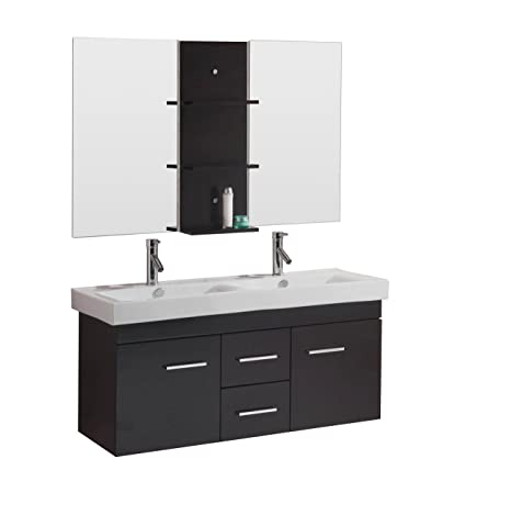 Virtu Usa Opal 48 Inch Double Sink Bathroom Vanity Set In Espresso W